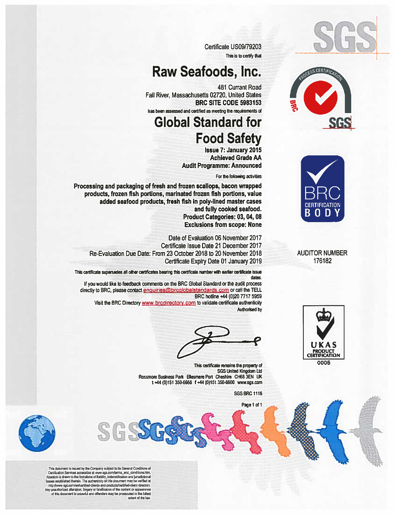 Food Safety Certifications Raw Seafoods Inc Holds Grade A Information
