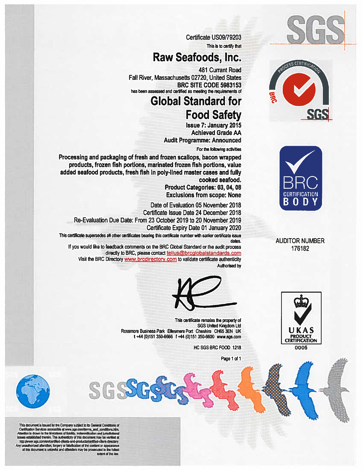Food Safety Certifications Raw Seafoods Inc  Holds - Grade A