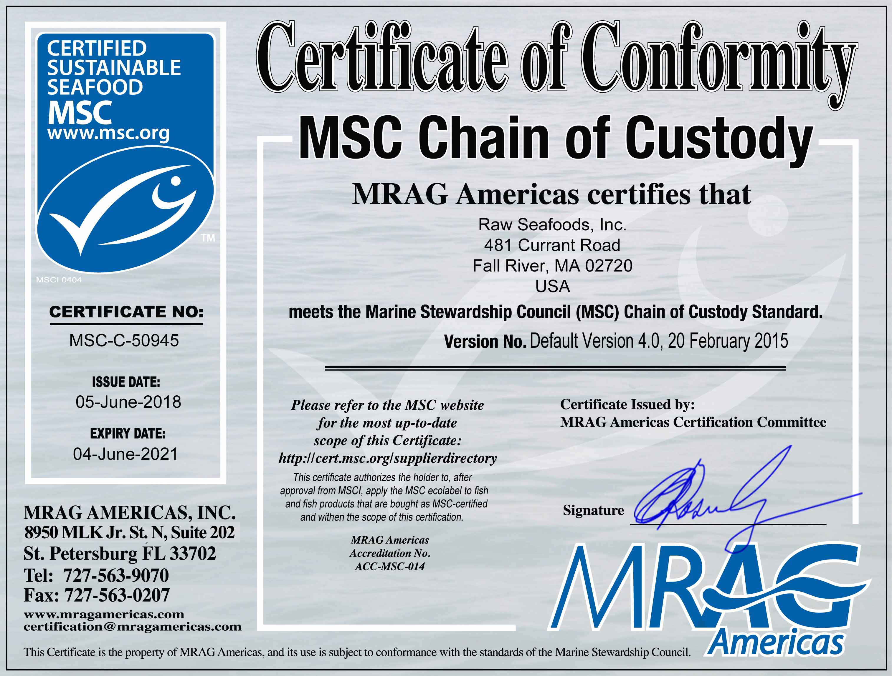 Food Safety Certifications Raw Seafoods Inc. Holds - Grade A Information